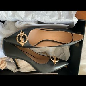 Coach black leather heels
